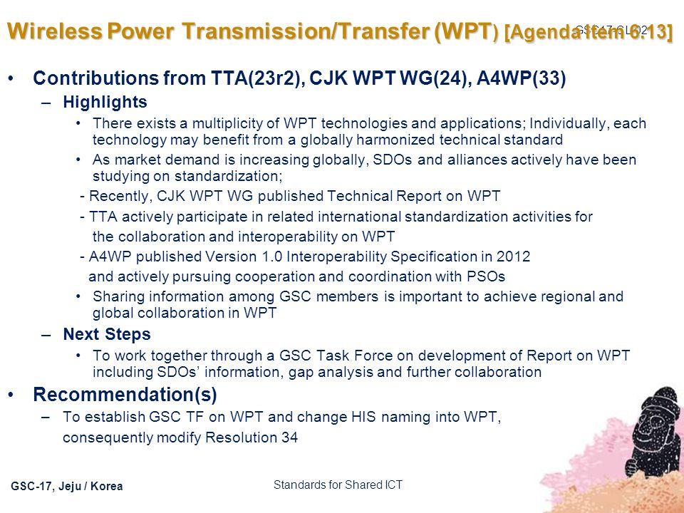 Wireless Power Transmission/Transfer (WPT) [Agenda Item 6.13]